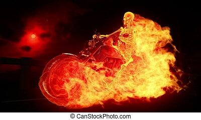 skelett, radfahrer, feuer