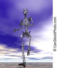 skelett, rennender , nasser sand, stahl