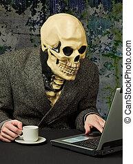 skelett, -, schrecklich, person, gebräuche, internet