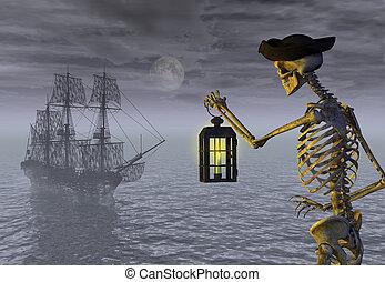 skelett, sjörövare, med, spöke, skepp