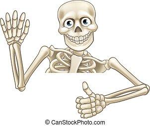 skelett, tecknad film, tummar uppe, underteckna