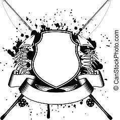 skelett, von, fische, und, gekreuzt, fischerei, geräte