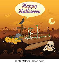 Skelton in Halloween night