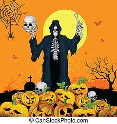 Skelton with pumpkin in Halloween night