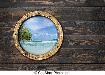 skepp, eller, båt, hyttventil, på, trä vägg, 3, illustration