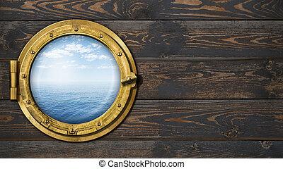 skepp, eller, båt, med, ocean, horisont, hyttventil, på, trä vägg