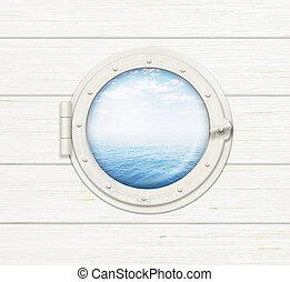 skepp, fönster, eller, hyttventil, på, trä vägg, med, hav, eller, ocean, synbar, genom, den