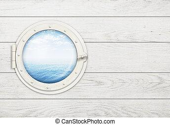 skepp, fönster, eller, hyttventil, vita, trä vägg, med, hav, eller, ocean, horisont