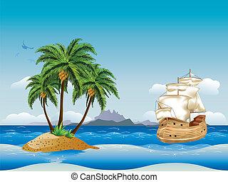 skepp, gammal, hav