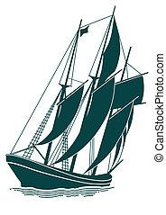 skepp, gammal, segla