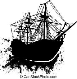 skepp, grunge, vektor, sjörövare