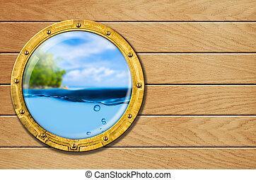 skepp, hyttventil, med, tropical landskap, och, undervattens, bak
