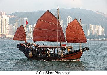 skepp, kinesisk, segla