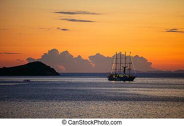 skepp, synhåll, solnedgång, segla, kryssning