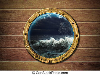 skepp, utanför, oväder, hyttventil