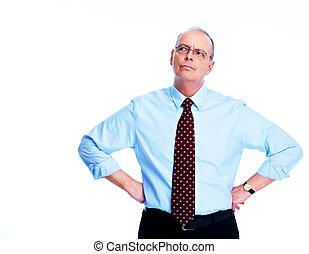 Skeptical businessman. Isolated on white background.