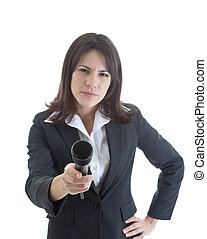 Skeptical Woman Holding Microphone Isolated White -...
