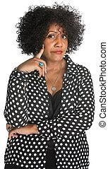 Skeptical Woman in Polka Dot
