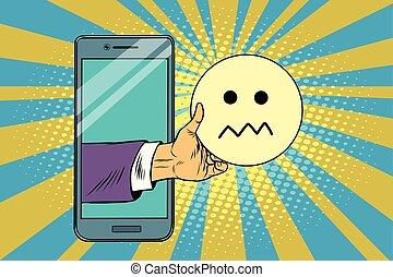 skepticism emoji emoticons in smartphone. Pop art retro ...