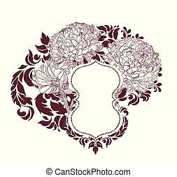 sketcch, fleur, cadre, chrysanthème, victorien, vecteur, fond