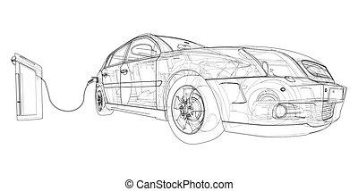 sketch., ładujący, wektor, elektryczny, stacja, pojazd