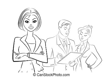 sketch., αρμοδιότητα ακόλουθοι , απομονωμένος , φόντο , meeting., άσπρο , περίγραμμα