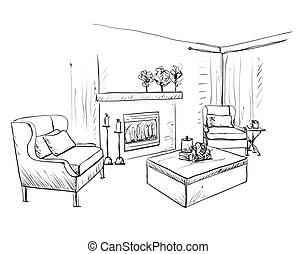 sketch., интерьер, спальня, мебель, рука, вничью, современное