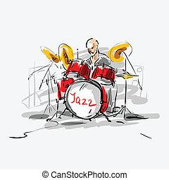sketch., ジャズ, ベクトル, illustration., drummer.