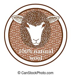 Sketch 100% wool tag with sheep in vintage style, vector