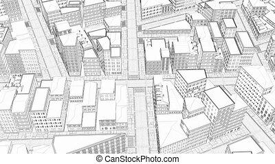 Sketch 3d drawing city Urban scene 4k