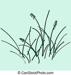 Sketch a bunch of grass. vector illustration. Drawing by hand.