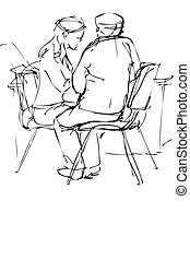 sketch a fellow and girl are at a table