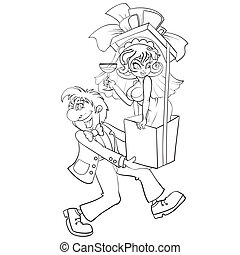 sketch, a man carries in his hands a big box with a big bow and in it sits a woman, surprise, cartoon illustration, coloring, isolated object on a white background, vector illustration,