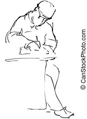 sketch a man in a cap is sewn down at the table