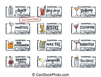 Sketch Alcohol Drinks Labels Set