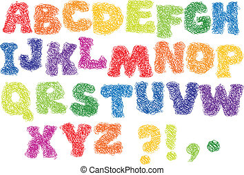 Sketch Alphabet - different colors letters are made like a...