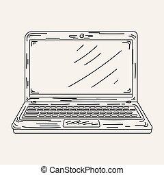 Sketch an open laptop in vector