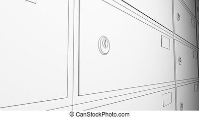 Sketch animation. Row of safe deposit boxes and inserted key...