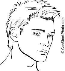 sketch., ansikte, vektor, formge grundämne, man