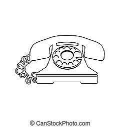 sketch antique phone with auricular and cord vector ...