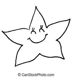 sketch., arrière-plan., star., illustration, main, né, vecteur, noir, nouveau, blanc, dessin, sourire, contour