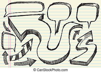 Sketch Arrow and Speech bubble set