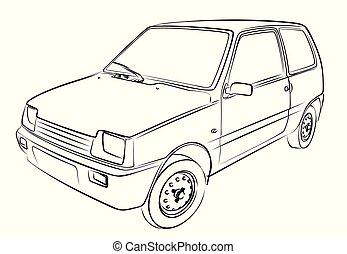 sketch., autó, retro