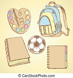 Sketch backpack, watercolors, football ball, book and notebook
