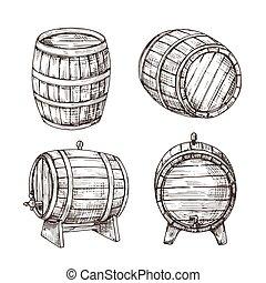 Sketch barrels. Whiskey oak casks. Wooden wine barrel in ...