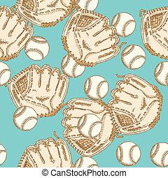 Sketch baseball bal ang glove, seamless pattern - Sketch...