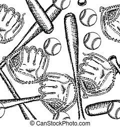 Sketch baseball ball, bat ang glove, seamless pattern -...