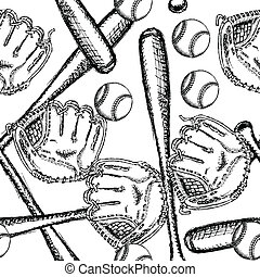 Sketch baseball ball, bat ang glove, seamless pattern