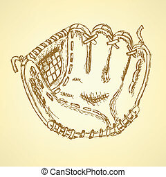Sketch baseball glove, vector vintage background