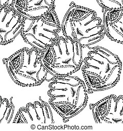 Sketch baseball glove, vintage seamless pattern